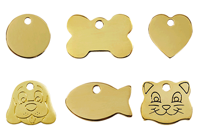 Brass Pet ID Tags for Cats and Dogs