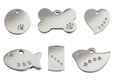 Diamante Pet ID Tags for Cats and Dogs